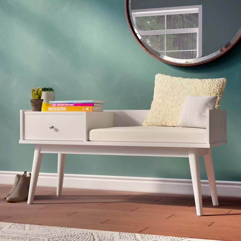 Entryway-Bench-With-Seat-And-Drawer-White-With-Chrome-Knob