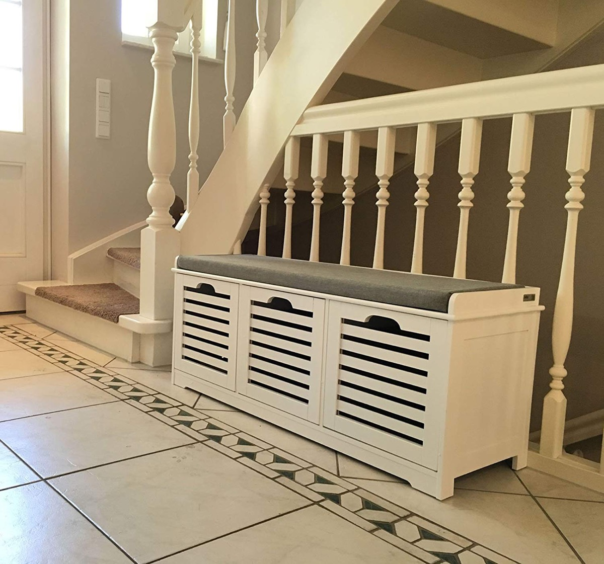 Entryway-Bench-With-Shoe-Cabinet-And-Grey-cushion-Slatted-Cupboards