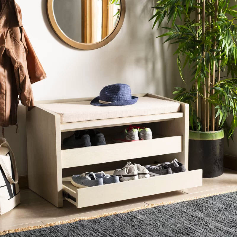 Entryway-Bench-With-Slide-Out-Shoe-Drawers-And-Beige-Removable-Cushion