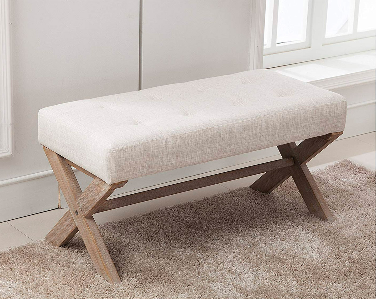 Entryway-Bench-With-X-Shaped-Legs-Wustic-Wood-And-White-Cushion