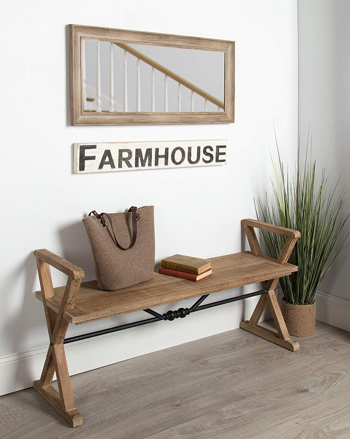 Farmhouse-Style-Entryway-Bench-With-Black-Metal-Accent-Weathered-Wood-Finish-Rustic