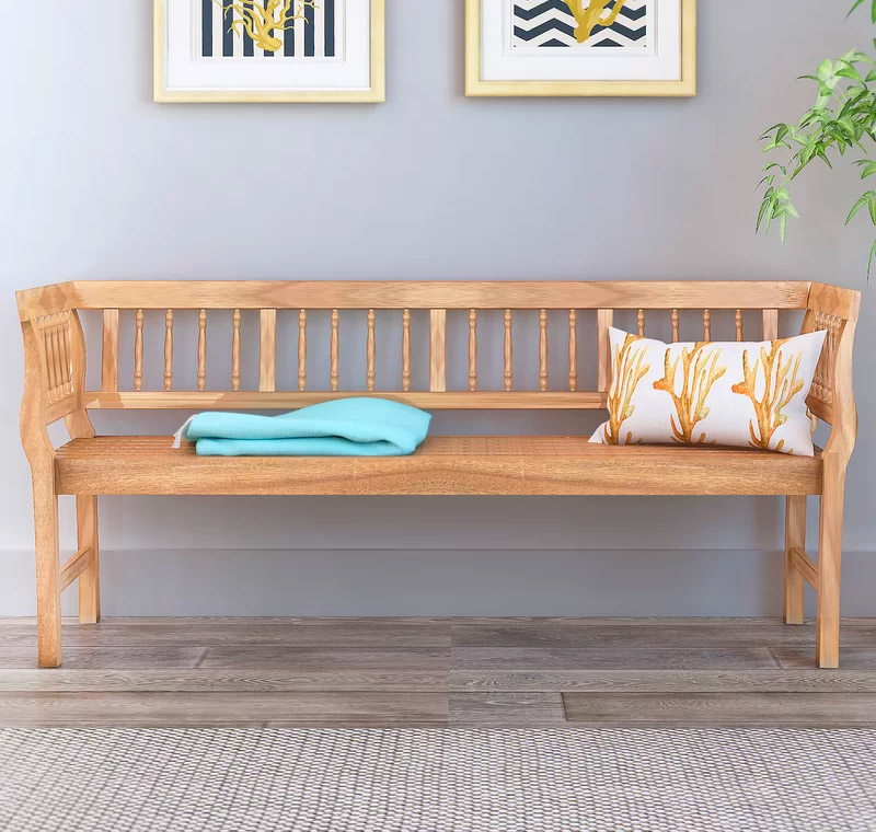 Farmhouse-Style-Spindle-Back-Entryway-Bench-All-Wood-Light-Finish-No-Cushion
