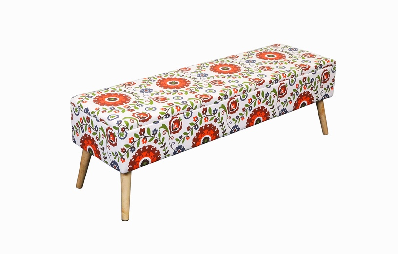 Floral-Entryway-Bench-Ottoman-With-Floral-Fabric-White-Orange