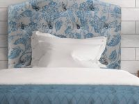 Floral-Tufted-Headboard-Blue-And-White-Cream-Colored-Flowers-Nature-Inspired