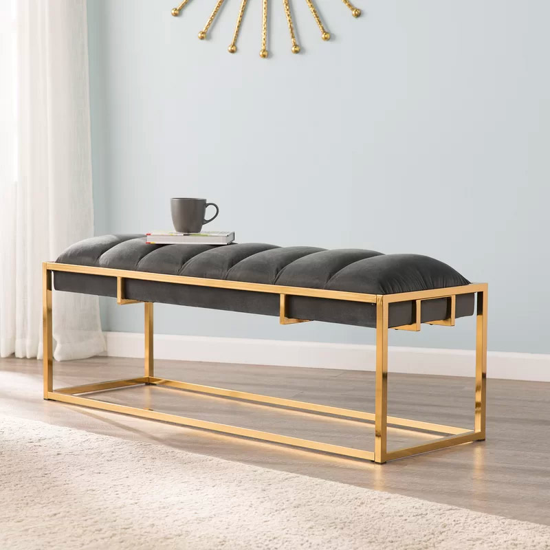 Glam-Style-Brass-Entryway-Bench-With-Channel-Tufted-Grey-Velvet-Cushion-And-Metal-Gold-Frame