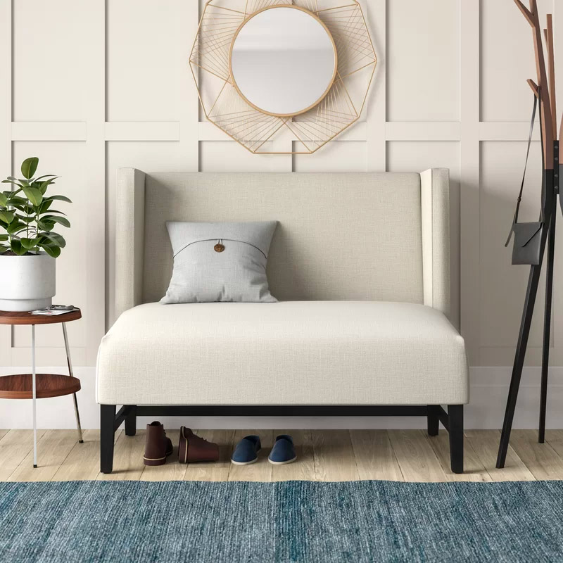 High-Back-Upholstered-Entryway-Bench-Wingback-Cream-Upholstery-Black-Legs