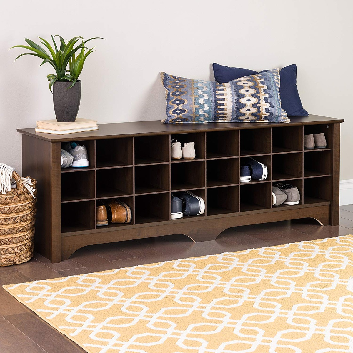 Long-Entryway-Bench-With-Cubbies-For-Shoe-Storage-24-Pairs-Dark-Brown