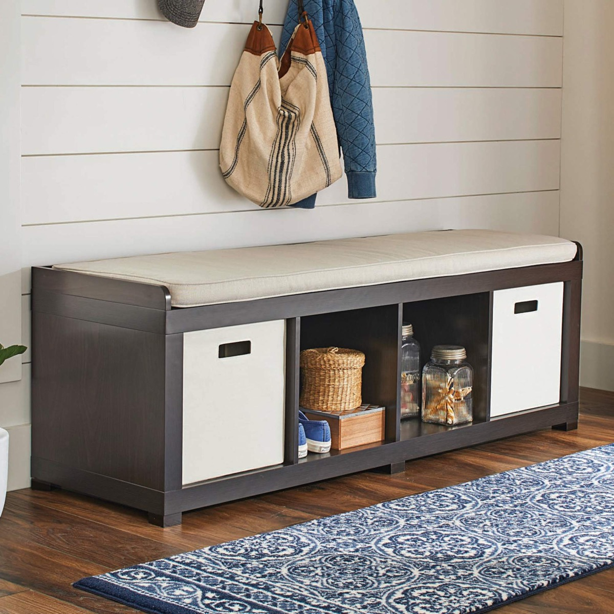 Long-Entryway-Bench-With-Storage-Shelves-Cubbies-And-Removable-Beige-Cushion