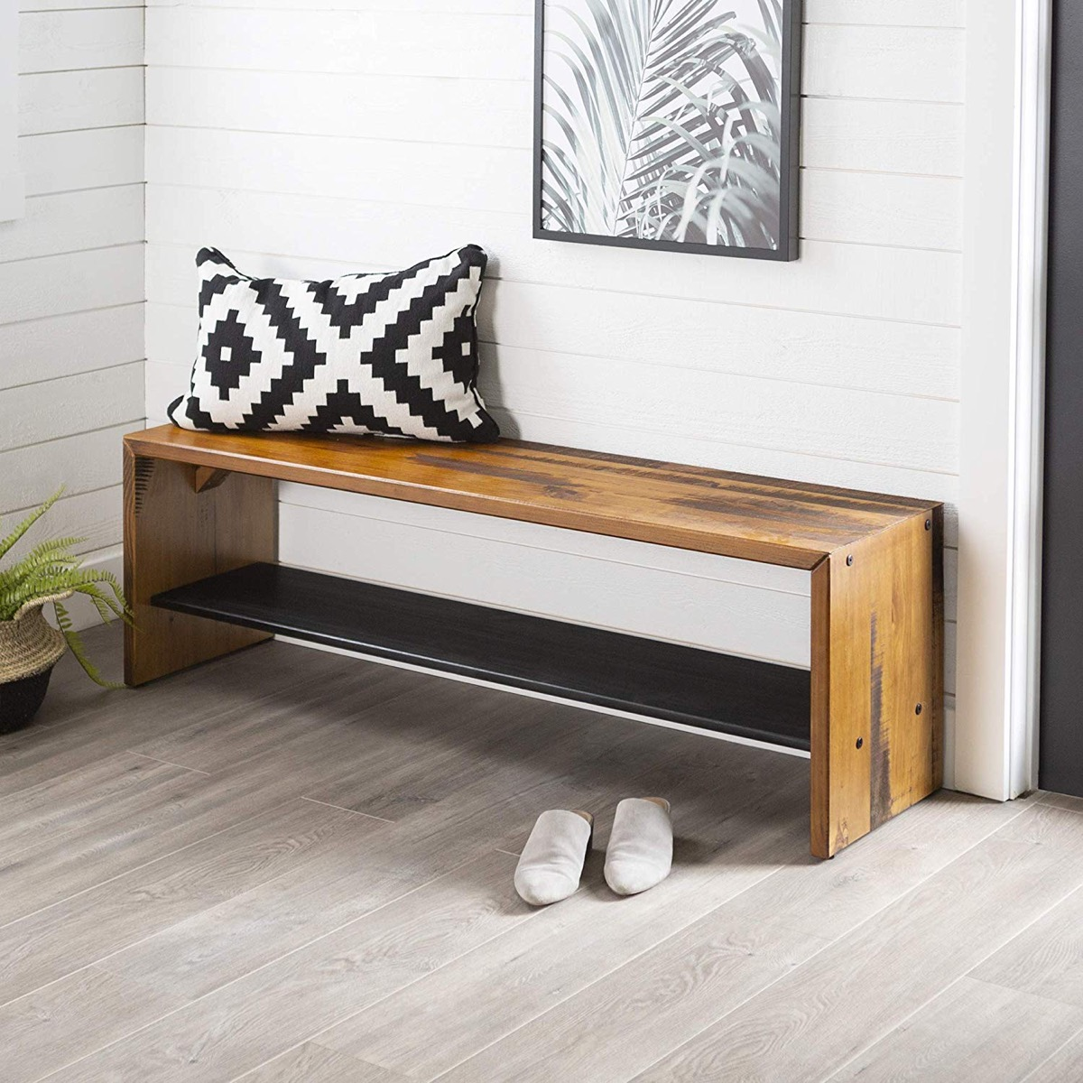 Long-Solid-Wood-Entryway-Bench-Rustic-Distressed-Finish-With-Bottom-Shelf