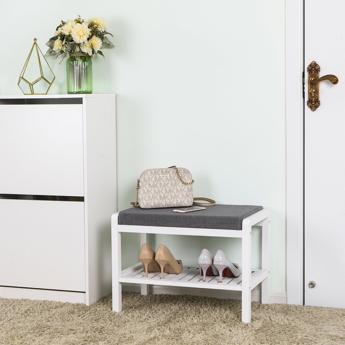 Modern-Entryway-Bench-With-Storage-Small-White-With-Grey-Cushion-1-Person-Seat