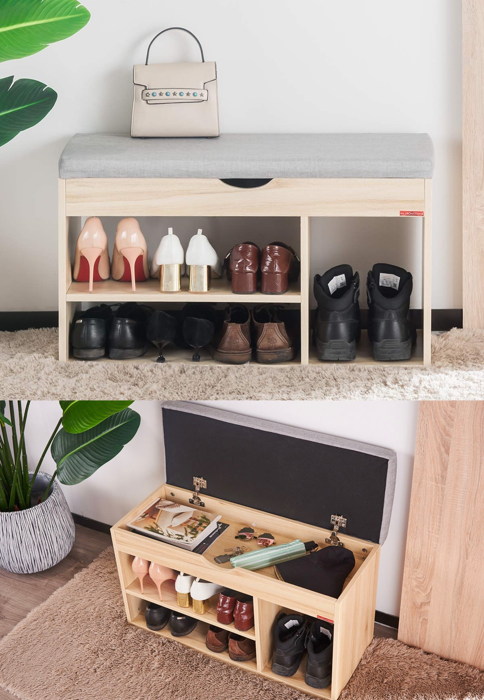 Modern-Minimalist-Entryway-Bench-With-Shoe-Storage-And-Flip-Top-Grey-Cushion