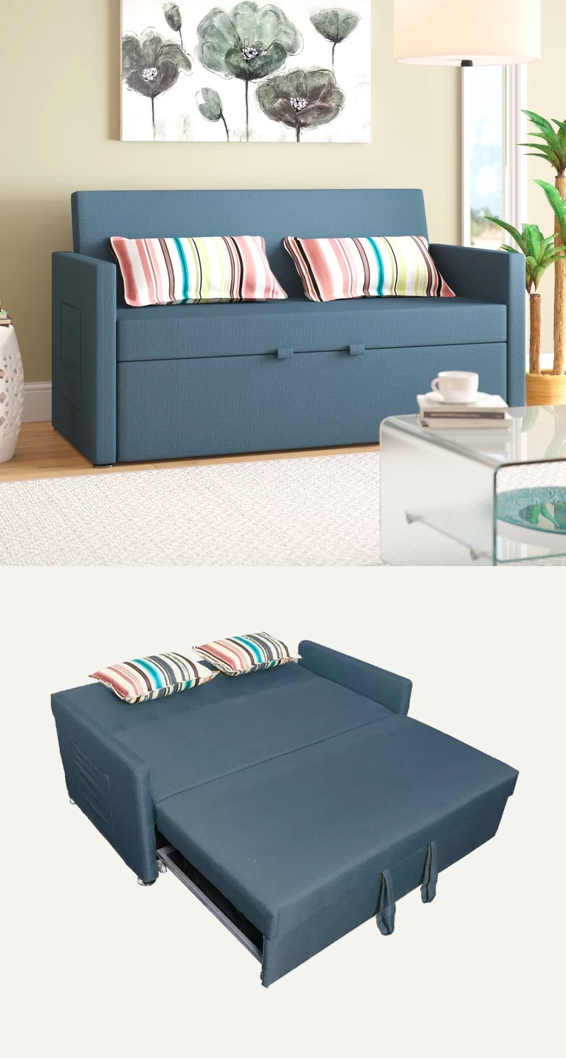 Cool Modern Sofa Bed With Side Storage Pouch Pocket Blue Grey Beatyapartments Chair Design Images Beatyapartmentscom