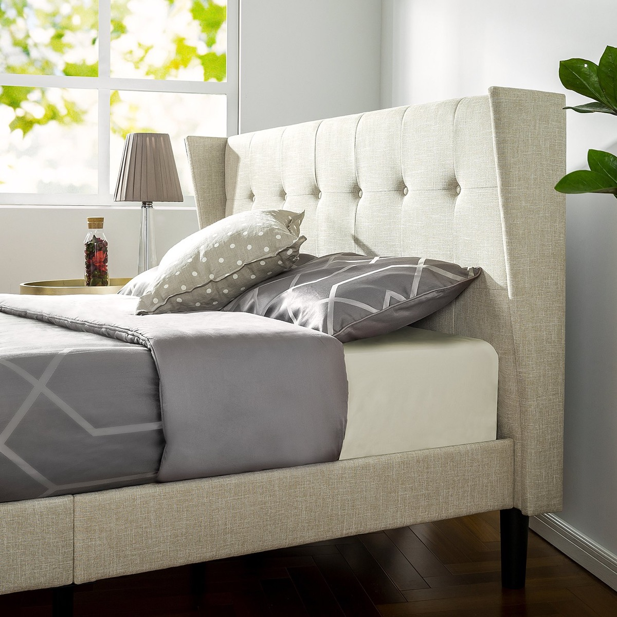 Modern Wingback Tufted Headboard Tan Canvas Contemporary Neutral Bed Frame Ideas Awesome Decors