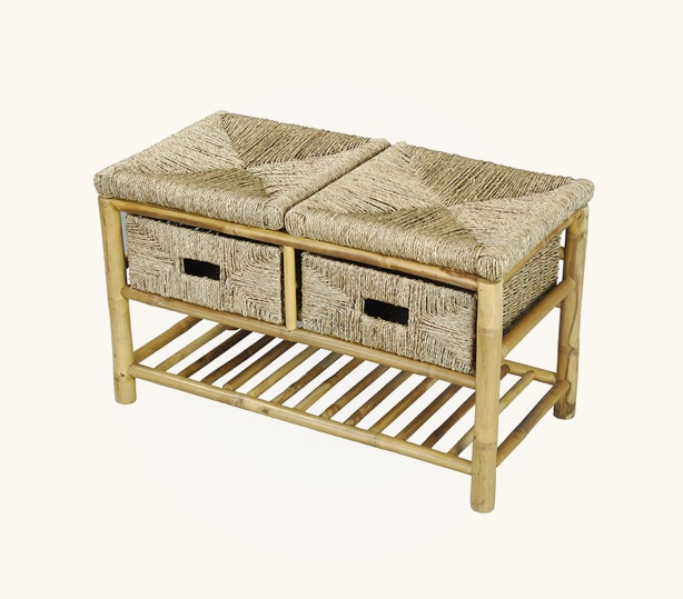Rustic-Entryway-Bench-Made-Of-Bamboo-And-Seagrass-Drawers-and-Bottom-Shelf
