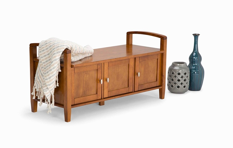 Rustic-Entryway-Bench-With-Cabinets-And-Handles-Traditional-Medium-Brown