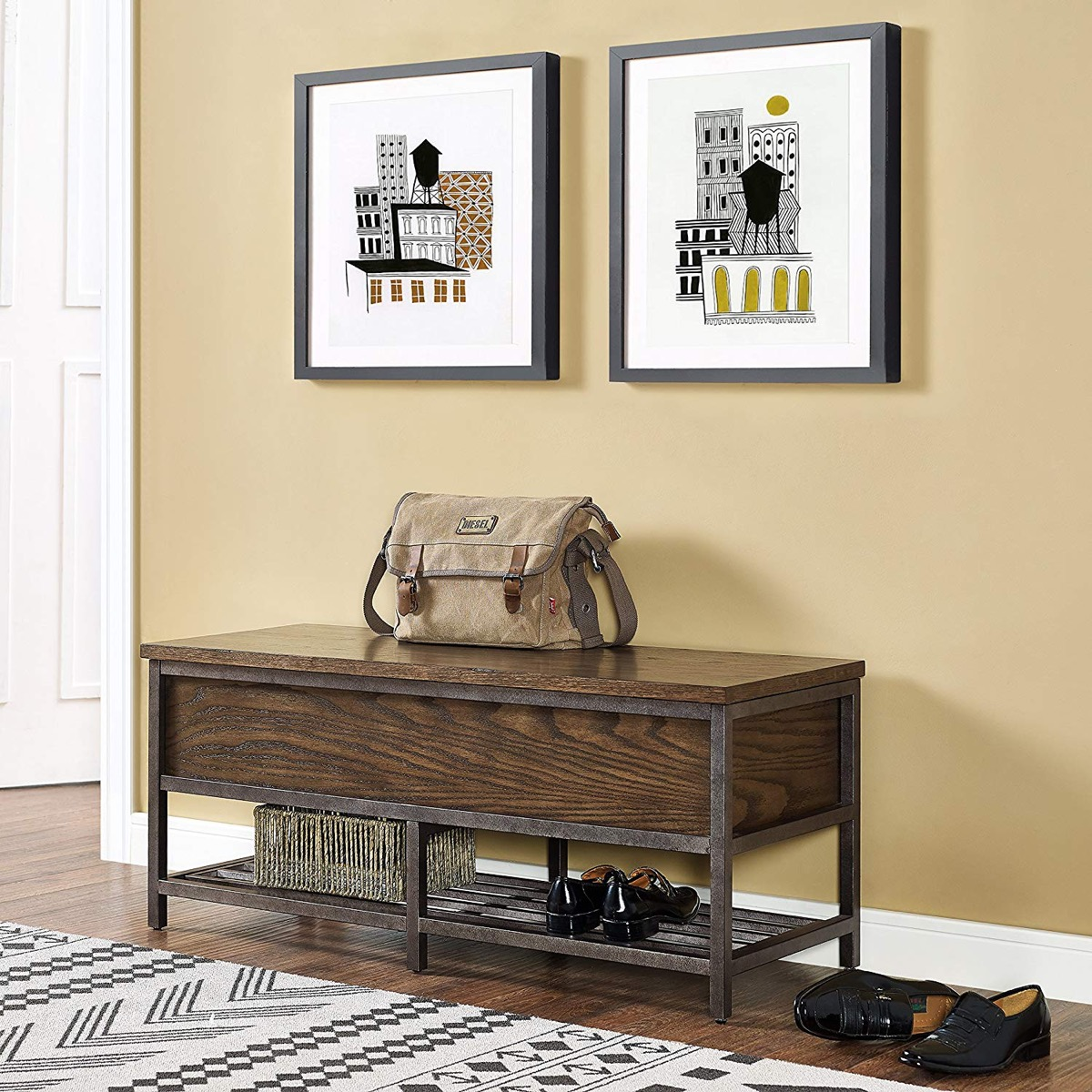 Rustic-Industrial-Entryway-Bench-Wood-And-Metal-Espresso-Finish