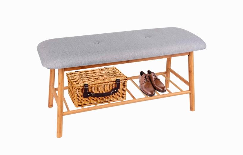 Scandinavian-Style-Entryway-Bench-With-Grey-Cushion-Tufted-Bamboo-Build-Bottom-Shelf