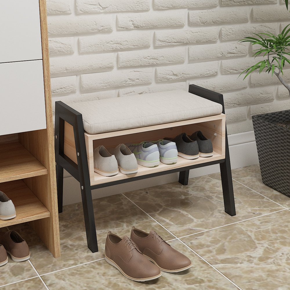 Small-Entryway-Bench-Metal-And-Wood-With-Show-Storage-Compact-Apartment-Ideas