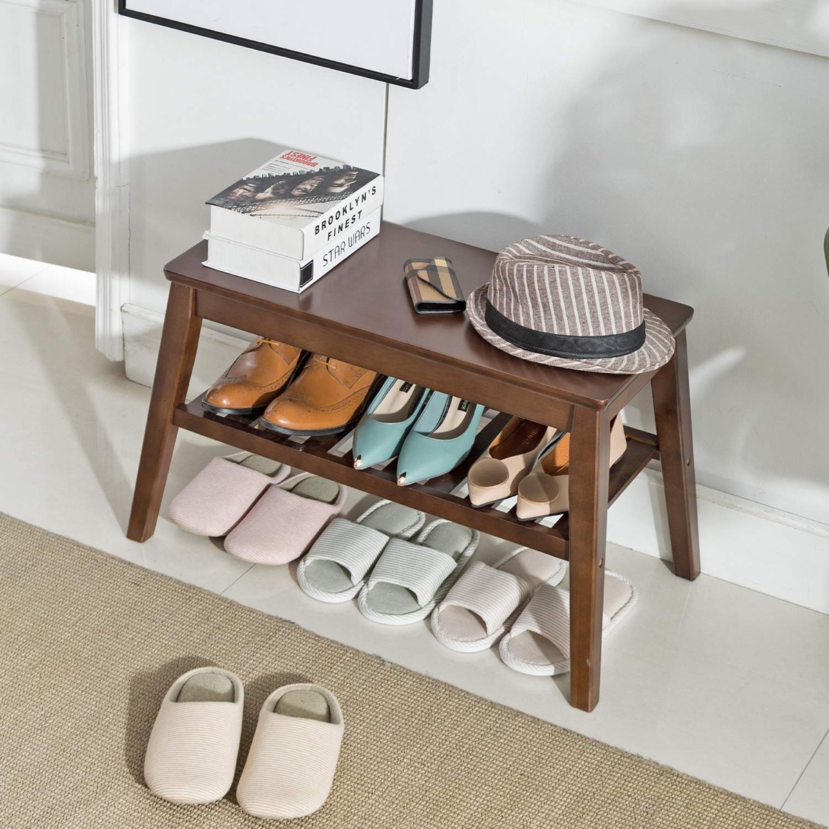 Small-Wooden-Entryway-Bench-Brown-Finish-With-Shelf-For-Shoes