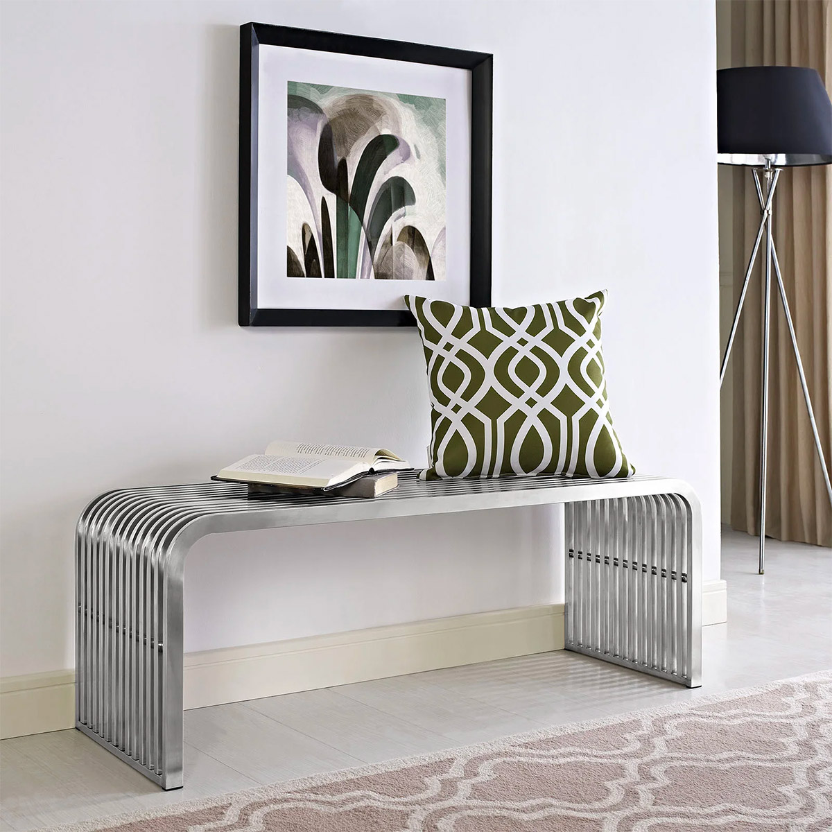 Stainless-Steel-Chrome-Entryway-Bench-Slatted-Metal-Pipe-Design-Modern