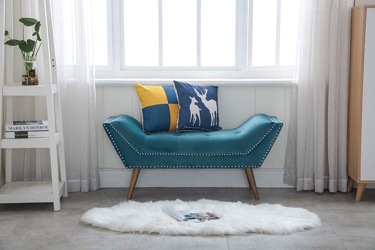 Teal-Entryway-Bench-With-Silver-Nailhead-Trim-And-Wood-Legs