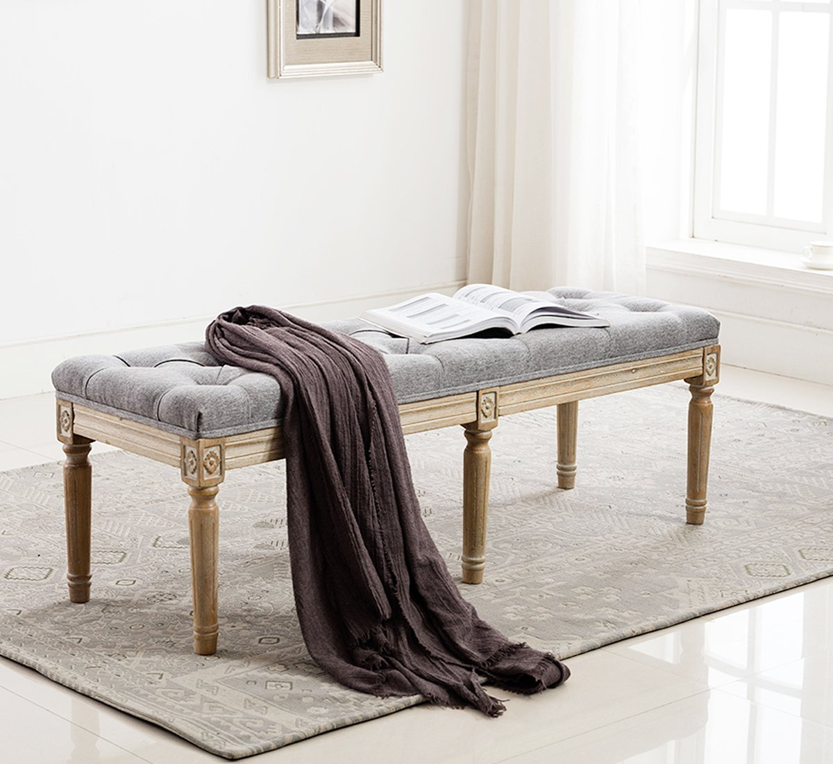 Traditional-Tufted-Entryway-Bench-With-Wood-Carvings-And-Grey-Tufted-Seat-Rubber-Wood