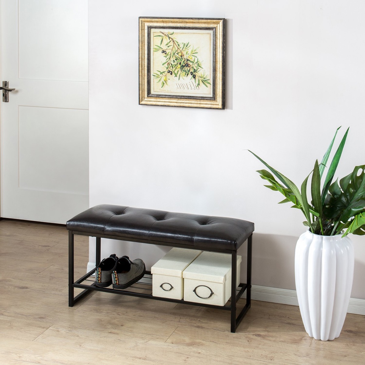 Tufted-36-Inch-Entryway-Bench-With-Storage-Shelf-Black-Metal-Frame-And-Faux-Leather-Cushion