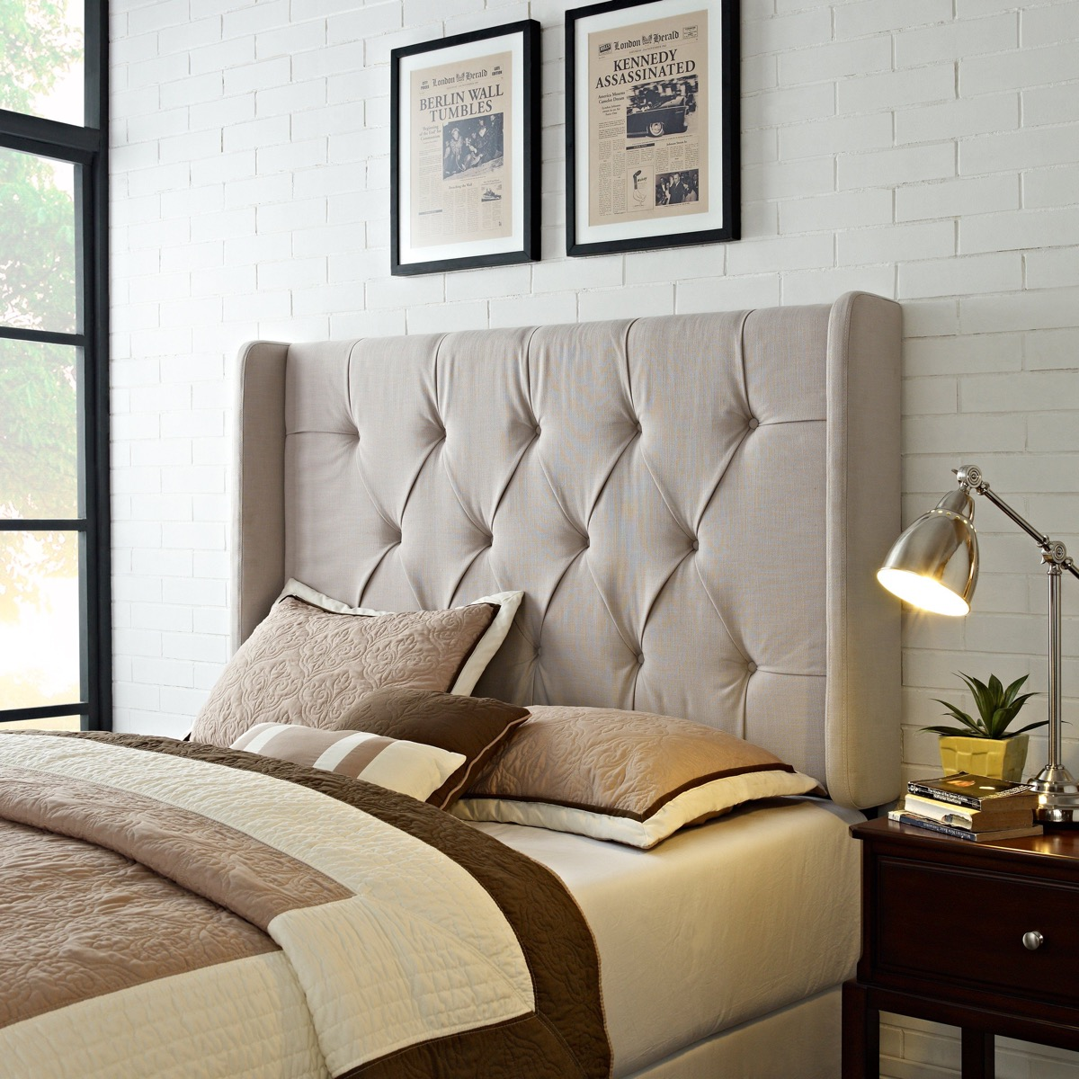 Tufted Wingback Headboard King Beige Tan With Pleats Neutral Bedroom Idea Photo Awesome Decors