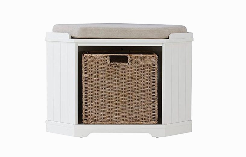 White-Corner-Entryway-Bench-With-Storage-Basket-And-Beige-Cushion