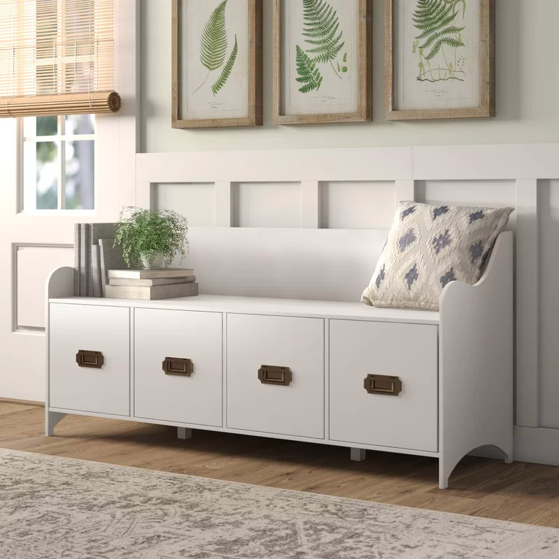 White-Entryway-Bench-With-Back-And-Storage-Drawers-Brass-Pull-Handles-Curved-Design