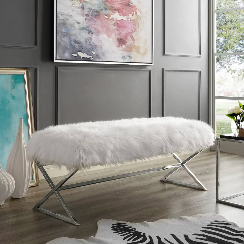 White-Faux-Fur-Entryway-Bench-With-Polished-Chrome-Legs