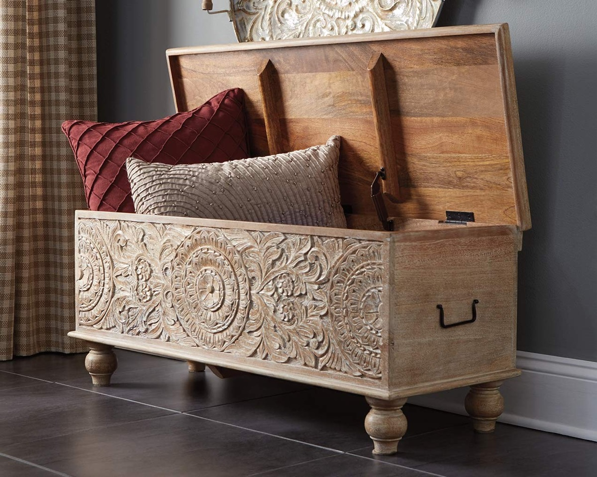 Wooden-Hand-Carved-Storage-Entryway-Bench-With-Flip-Top-Solid-Wood-Light-Finish
