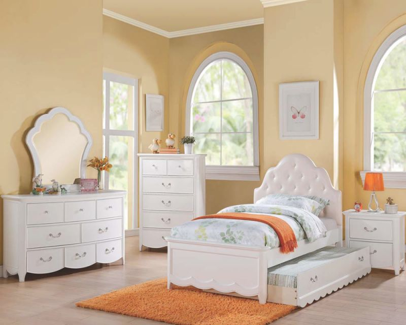 Acme Cecilie 4Pc Upholstered Bedroom Set In White throughout Cheap White Bedroom Furniture Sets