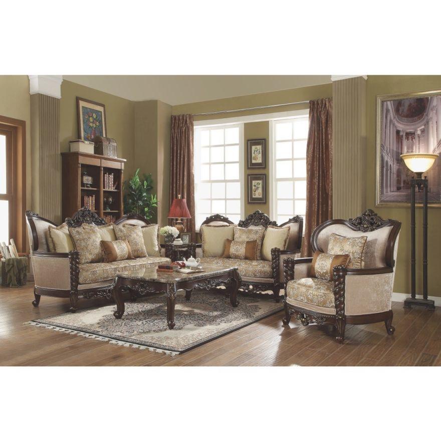 Acme Devayne 3Pc Livingroom Set, Dark Walnut pertaining to French Provincial Living Room Furniture