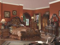 Acme Dresden Traditional Arch Bedroom Set In Cherry Oak regarding Oak Bedroom Furniture Sets