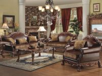 Acme Furniture Dresden Living Room Set In Brown Pu And Chenille, Cherry Oak in Discount Living Room Furniture Sets