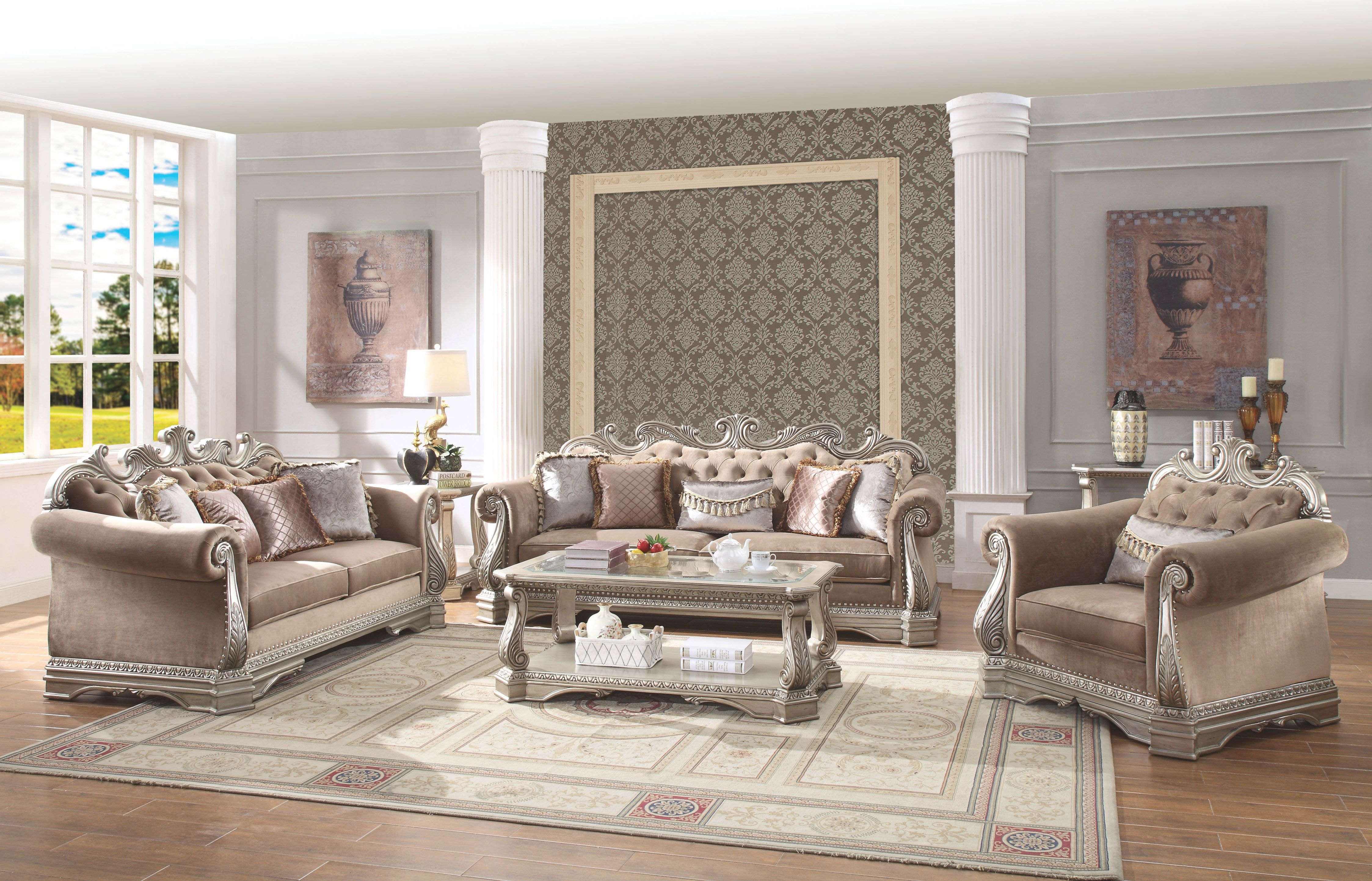 Acme Furniture Northville Antique Champagne 3Pc Living Room Set throughout Elegant Living Room Furnitures
