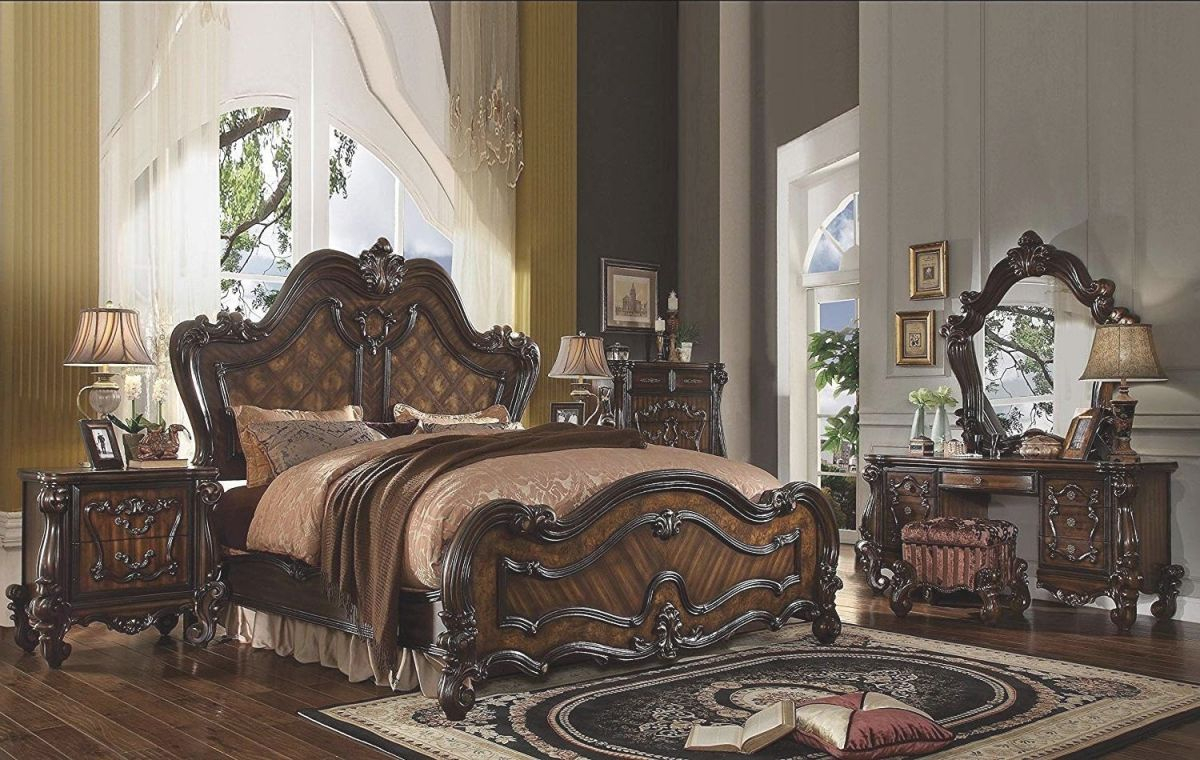 Acme Furniture Versailles 6 Piece California King Size Bedroom Set throughout Bedroom Set With Desk