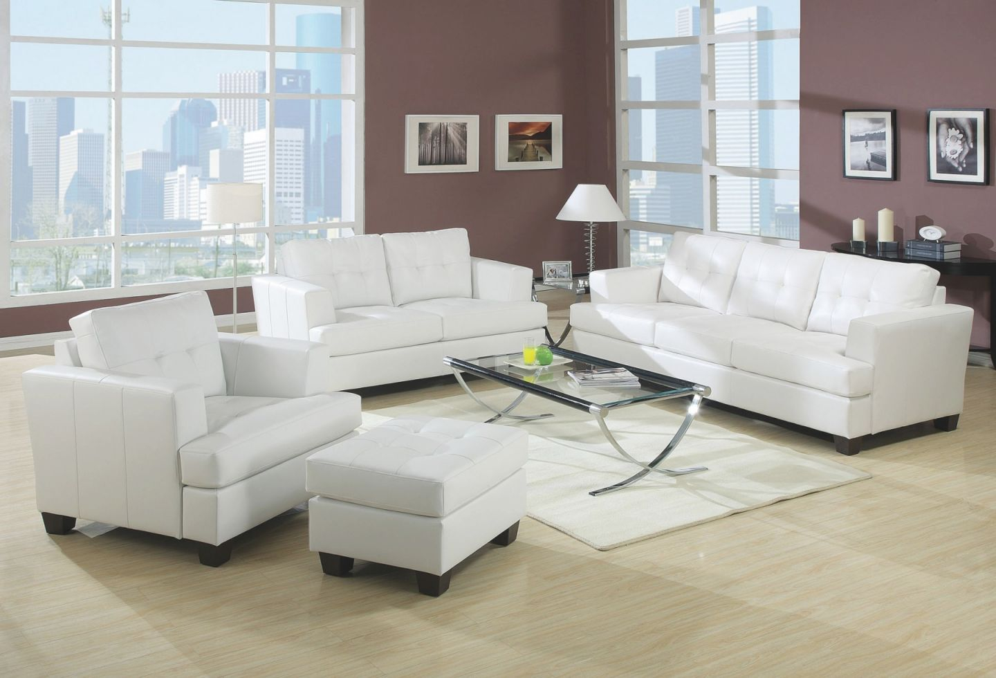 Acme Platinum 2Pc Living Room Furniture White Bonded Leather Sofa & Loveseat within Elegant White Leather Living Room Furniture
