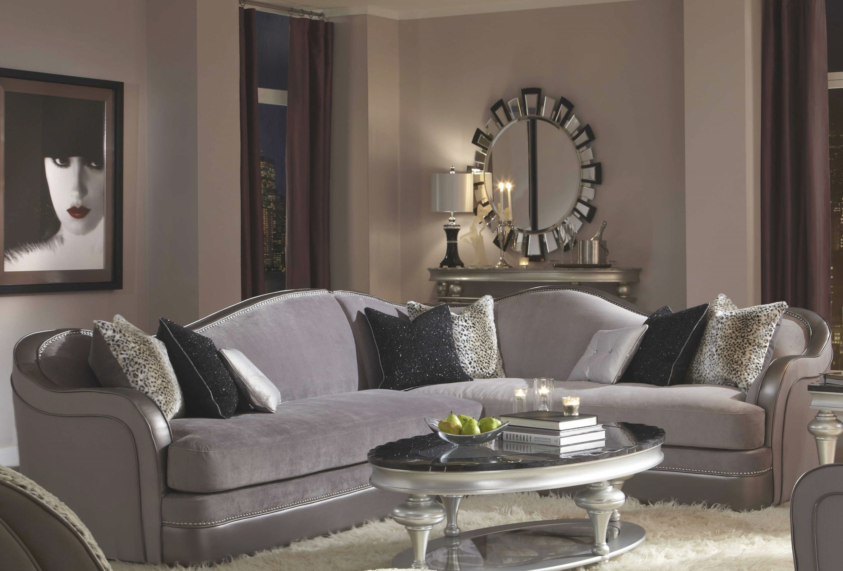 Aico Furniture Michael Amini Hollywood Swank Starry Night Silver Sectional Sofa with regard to Lovely Michael Amini Living Room Furniture