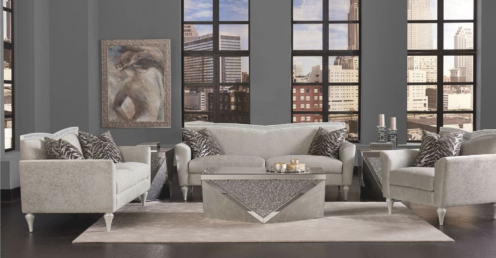 Aico Melrose Plaza V Back Upholstery Sofa Dove Setmichael Amini in Michael Amini Living Room Furniture