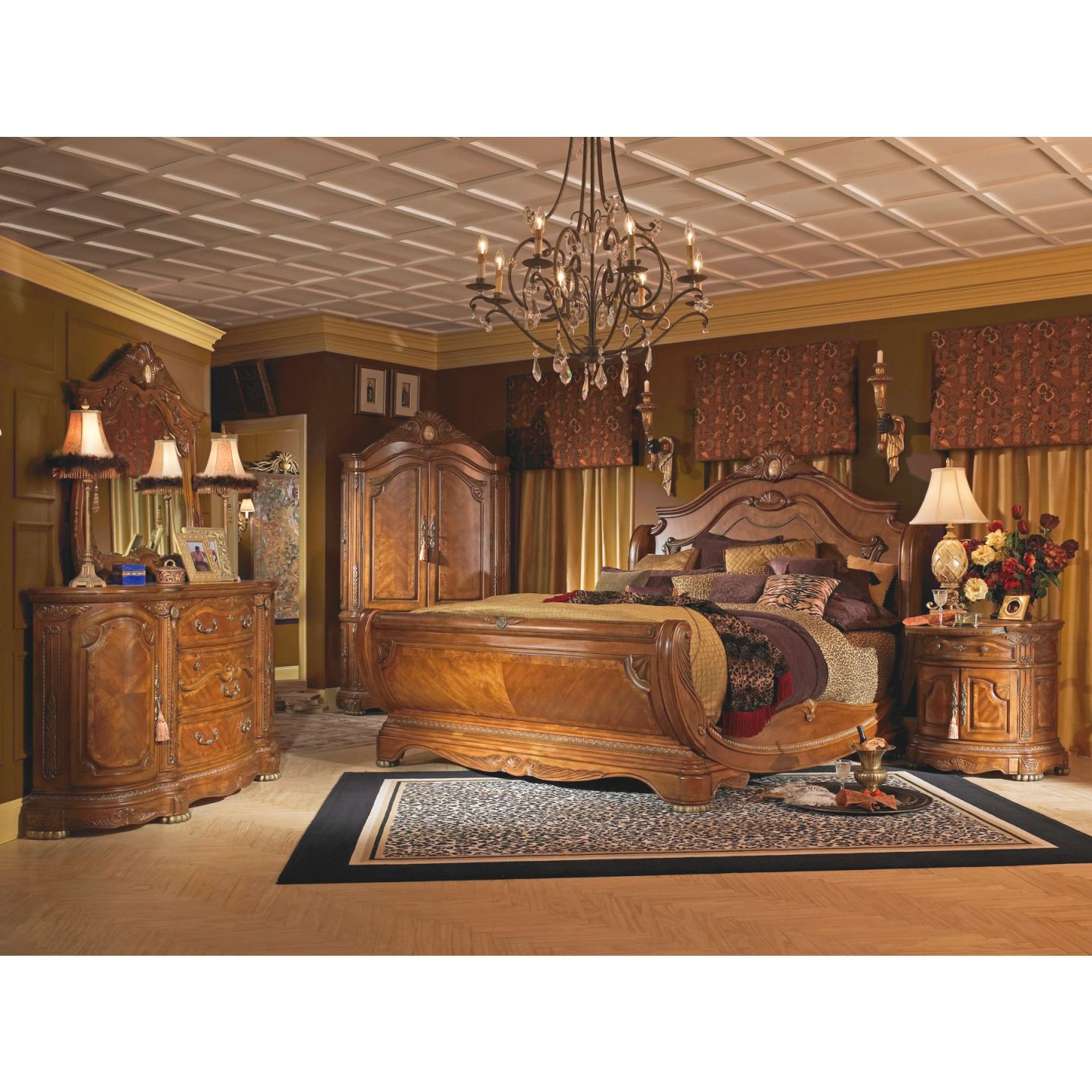 Aico Michael Amini 5Pc Cortina King Size Sleigh Bedroom Set In Honey Walnut Finish within Luxury Bedroom Sets King
