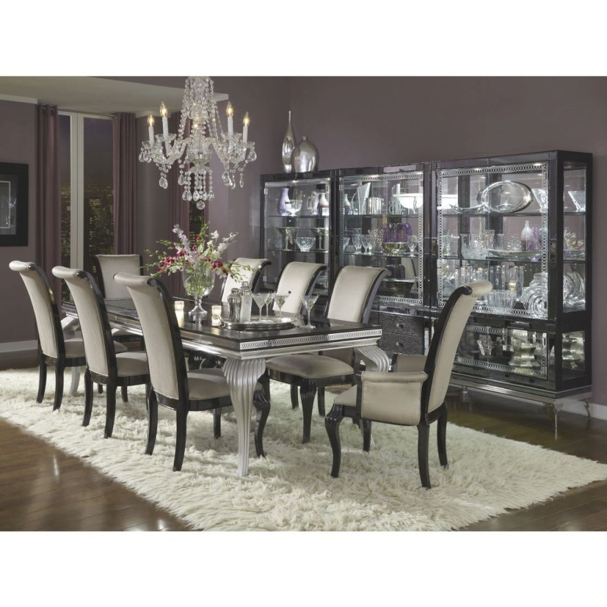 Aico Michael Amini Hollywood Swank Starry Night 9Pc Dining Table Set within Lovely Michael Amini Living Room Furniture