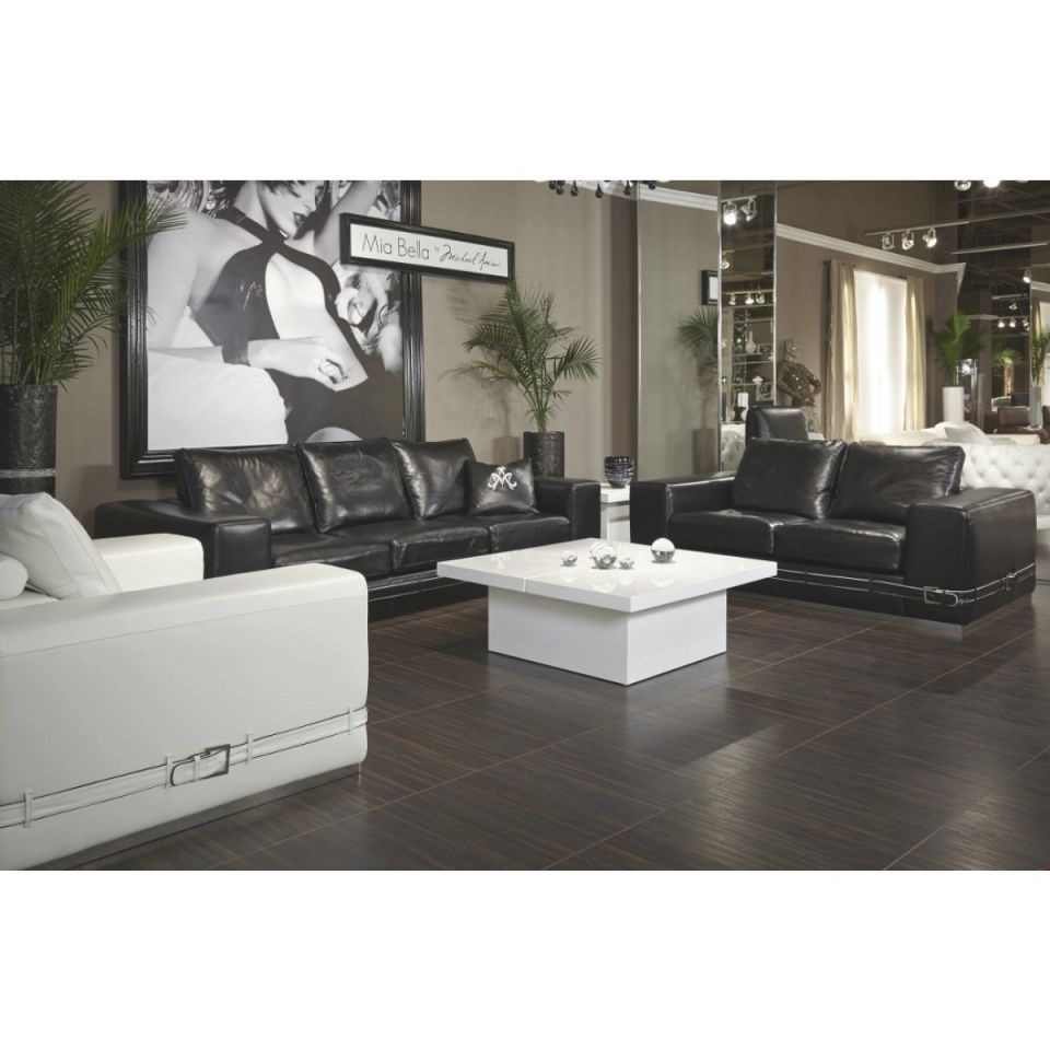 Aico Michael Amini Mia Bella Ciras Leather Mansion Sofa Living Room Set In Black intended for Lovely Michael Amini Living Room Furniture