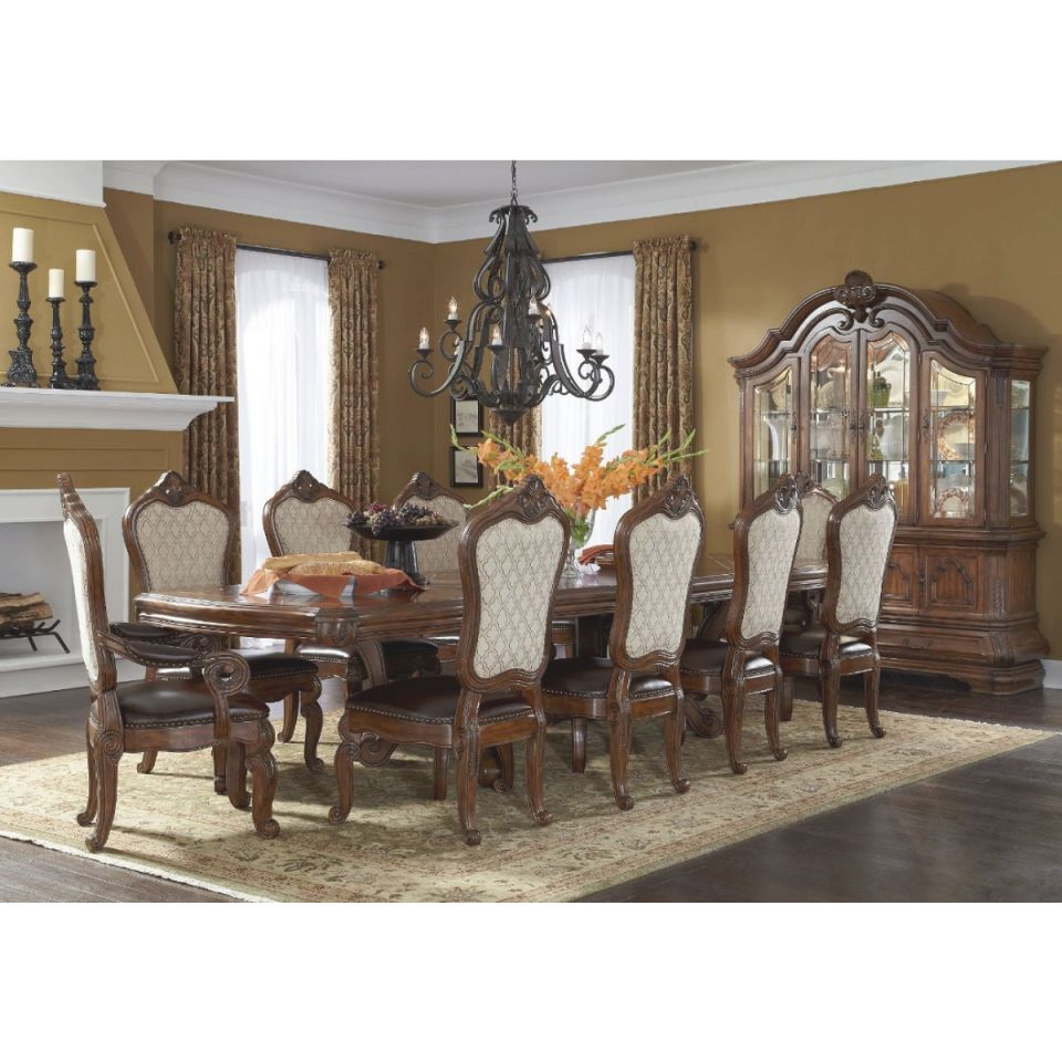 Aico Michael Amini Tuscano 9Pc Trestle Rectangular Dining Set In Melange within Michael Amini Living Room Furniture