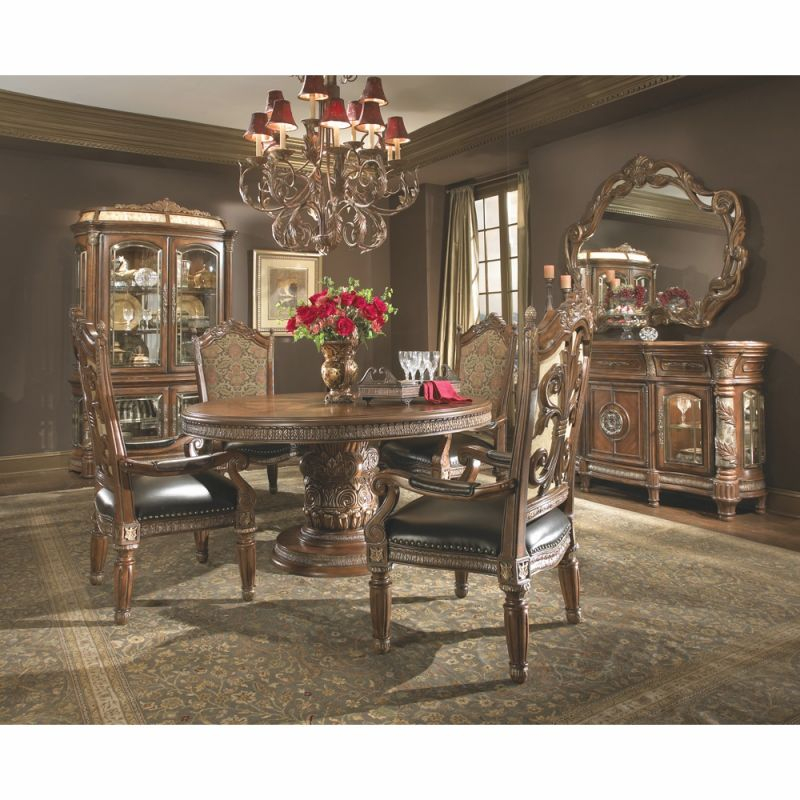 Aicomichael Amini – Villa Valencia Round Dining Room Set W/ Arm Chairs (5 Pc) In Classic Chestnut pertaining to Lovely Michael Amini Living Room Furniture