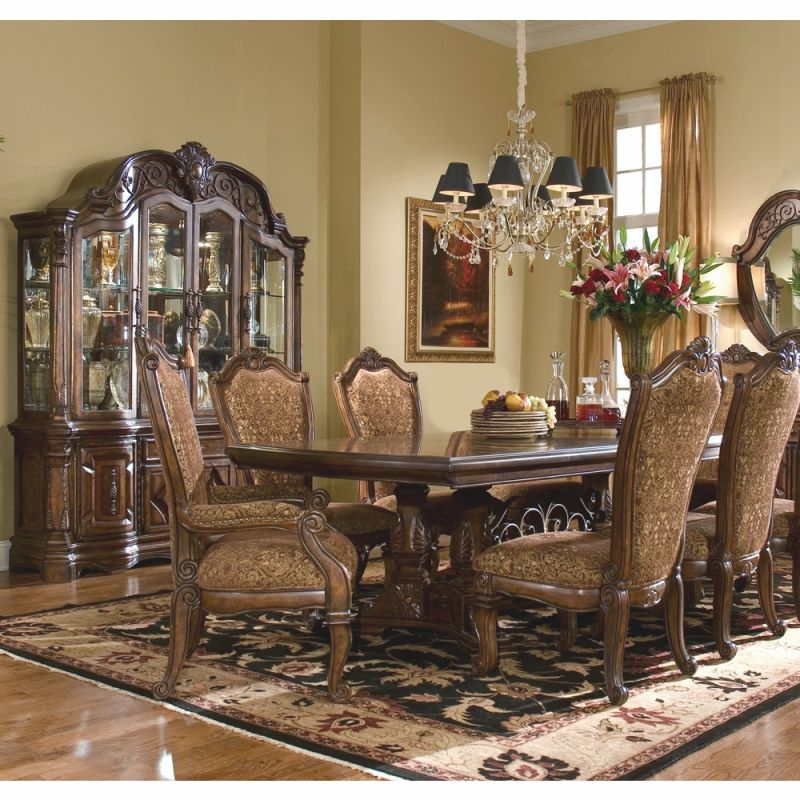 Aicomichael Amini – Windsor Court Rect. Dining Room Set W/ China & Buffet (9 Pc) In Vintage Fruitwood pertaining to Michael Amini Living Room Furniture