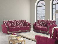 American Style Flowers Burgundy Fabric Plywood 3Pc Living throughout Luxury Burgundy And Grey Living Room