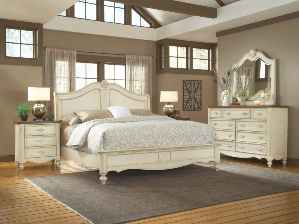 American Woodcrafters Chateau Collection Sleigh Bedroom Set In White Antique 3501-Setb throughout Cheap White Bedroom Furniture Sets