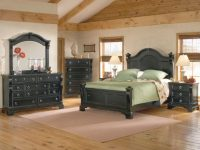 American Woodcrafters Heirloom Collection Poster Bedroom Set In Black With Rub Through Highlights 2900-Posterb intended for Black Bedroom Furniture Set